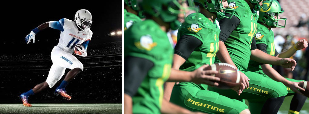 Nike's progressively-branded, contracted college teams have done some more experimenting with uniform typography, but it hasn't made it to the NFL until this year.