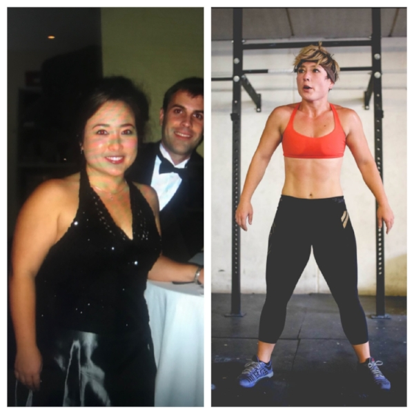 """KIM'S STORY - """"Ok, so when I left school and started my career I really struggled with work/life balance and as a result my activity level plummeted and I got really fat from sitting at a desk all day and stress eating. I met my Charles (my husband) and ran a 5K with him and his sister, it took me 32 minutes! At that point I realized how out of shape I was so it was time to make some changes. I hate my 'before' picture, but it's a good reminder to keep grinding!"""""""