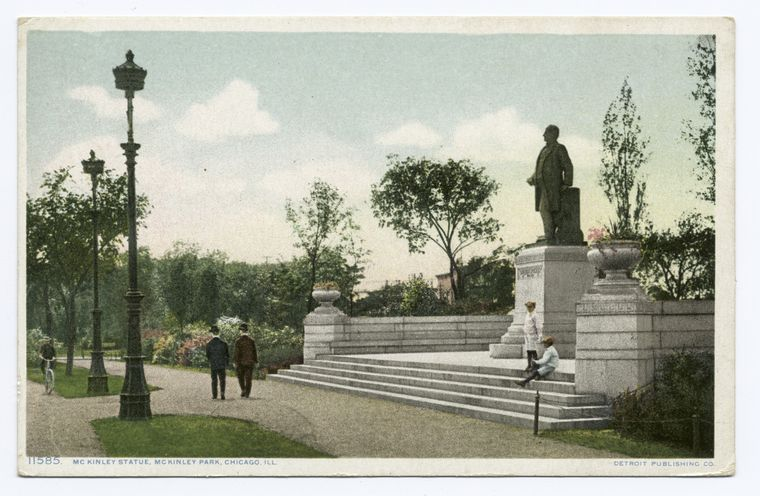 Statue of McKinley, still stands on Archer Avenue and Western Boulevard.