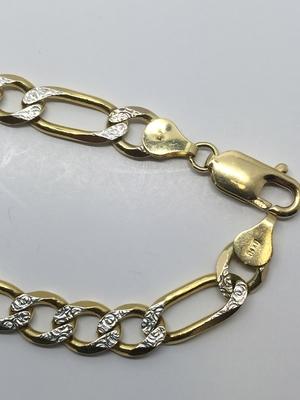 14k Diamond Cut Two Tone Figaro Bracelet — New Rochelle Jewelers d18395bf9cf1