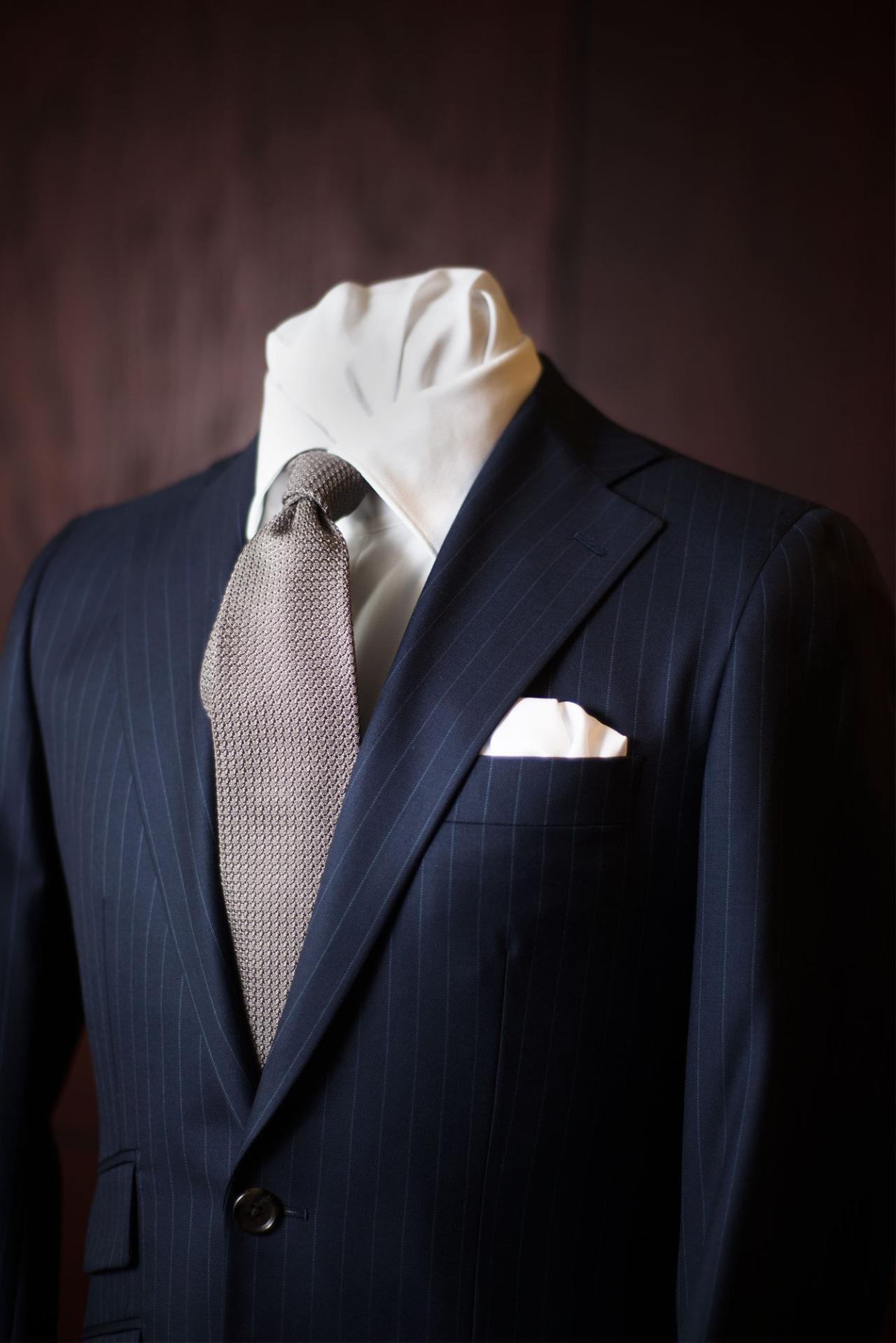 1701 Bespoke Grenadine Tie+ Navy pinstripe suit