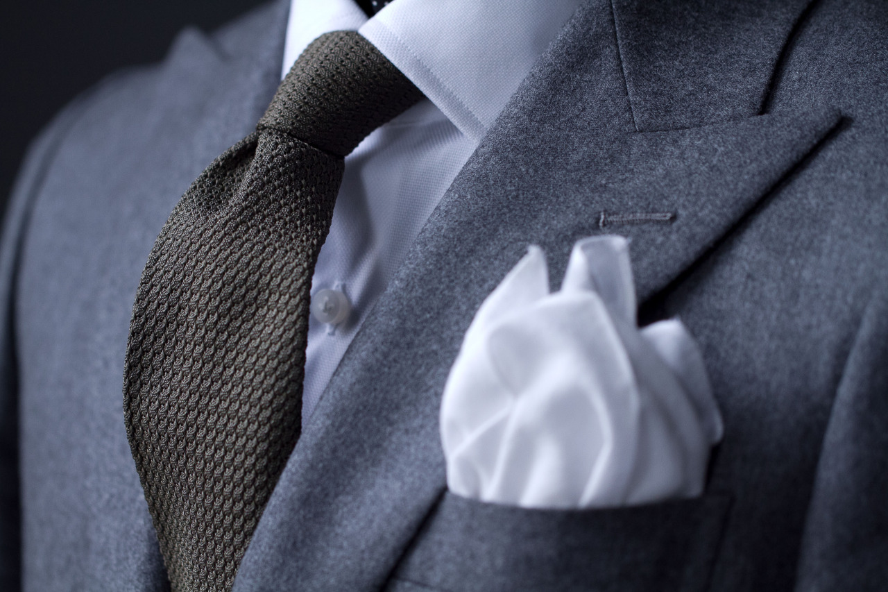 1701 Bespoke in VBC flannel +  Olive Grenadine Tie