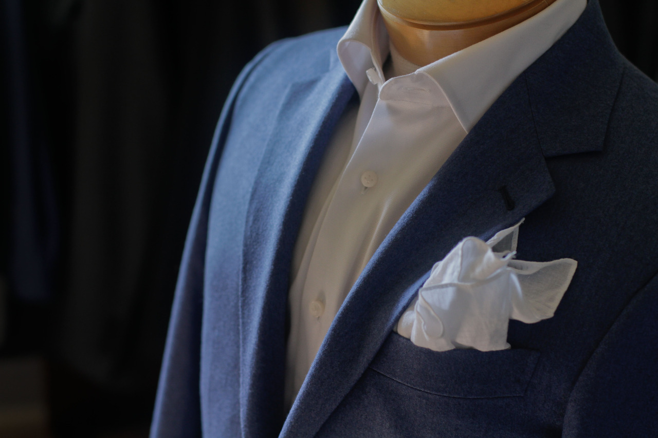 1701 Bespoke handmade blue flannel jacket with VBC fabric.