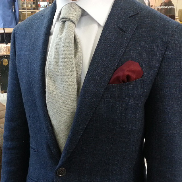 Handmade #1701Bespoke jacket, handmade 3-fold tie, silk pocket square and custom #1701Bespoke shirt.