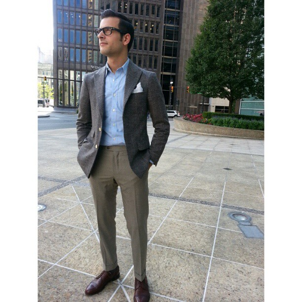 TD in unconstructed, half-lined Alpaca jacket & light weight flannel trousers.    Are you ready for #fall?    #menswear #bespoke #Detroit #custom #suits