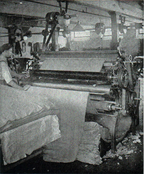 Shearing machine at vintage woolen mill.