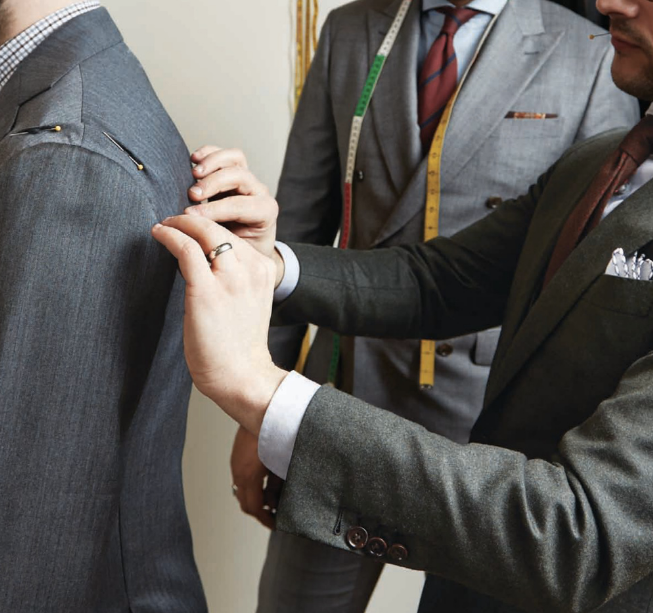 We take over 20 different measurements and find out your style and fit preferences to create the prefect pattern for suits, shirts, jackets, trousers, tuxedos and overcoats.