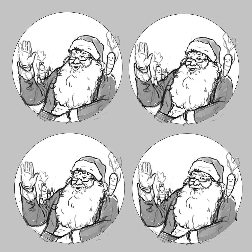 Early sketches of Santa design