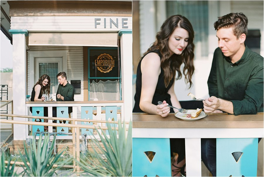 Coffee shop engagement photos by Dallas destination wedding photographer Tracy Enoch