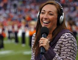 Here Amy is commentating for the NFL