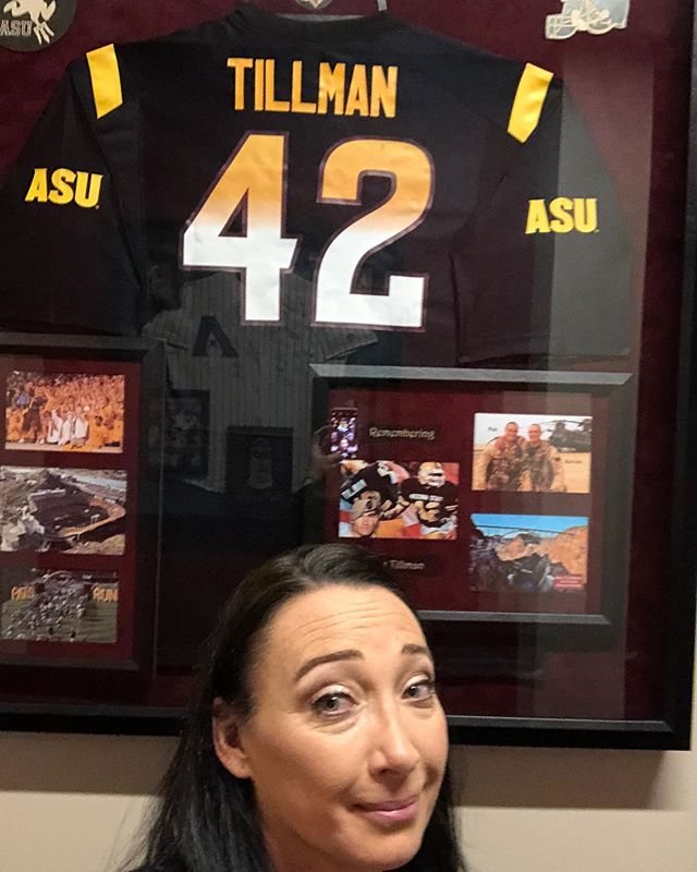 Back in the halls where I used to work @arizsports it's appropriate this week of 9/11 that I pose by Pat Tillman's jersey. #GaveAll #Hero #FreedomIsNotFree