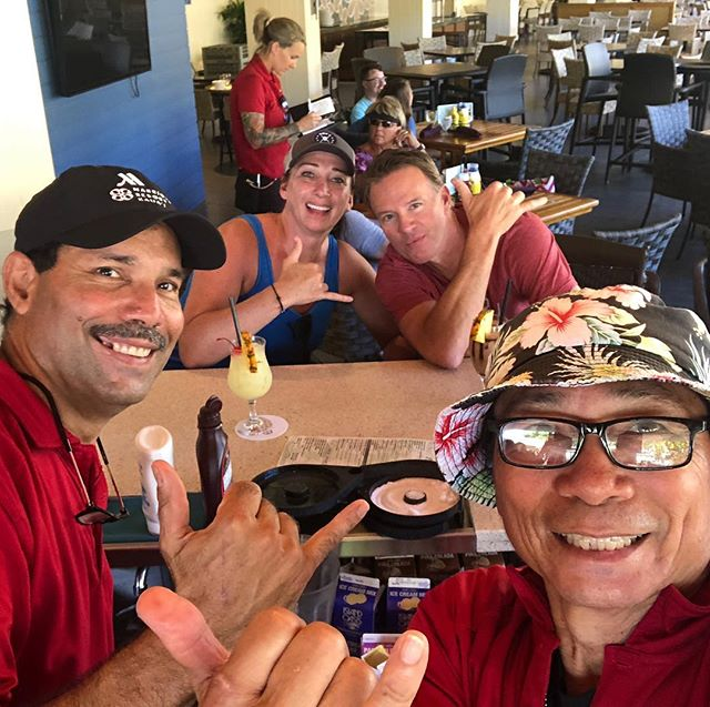 Have missed these boyz. We had a trip back here planned for 3 Days after my accident. Now we are back, and loving our Ohana!! I'm even sitting at the bar!! #SCIAwarenessMonth #GardenIsland