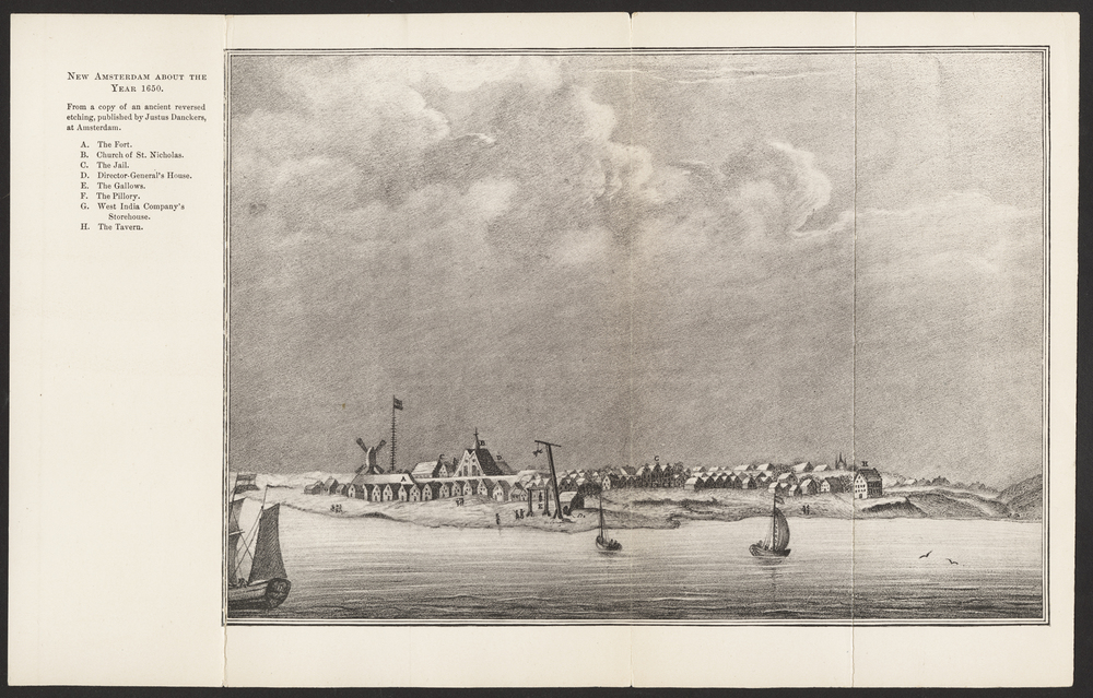 View of New Amsterdam about 1650, from an etching by Justus Danckers