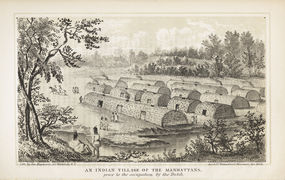 An Indian Village of the Manhattans, prior to the occupation by the Dutch. George Hayward, lithographer.