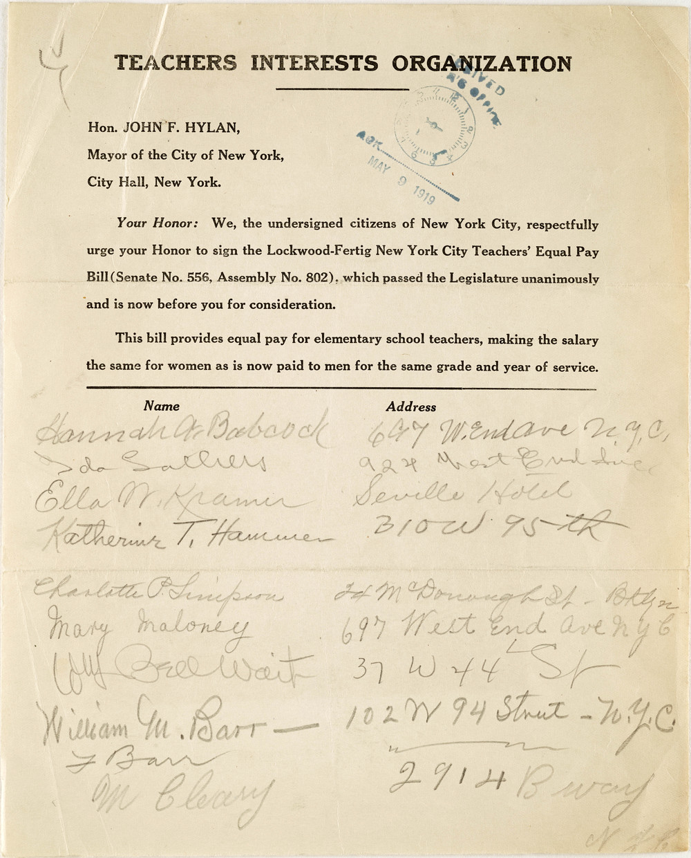 In 1919, men and women of the Teachers Interest Organization petition for equal pay.