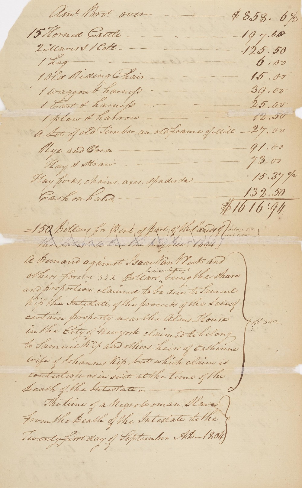 Excerpt of the Estate Inventory of Samuel Kip
