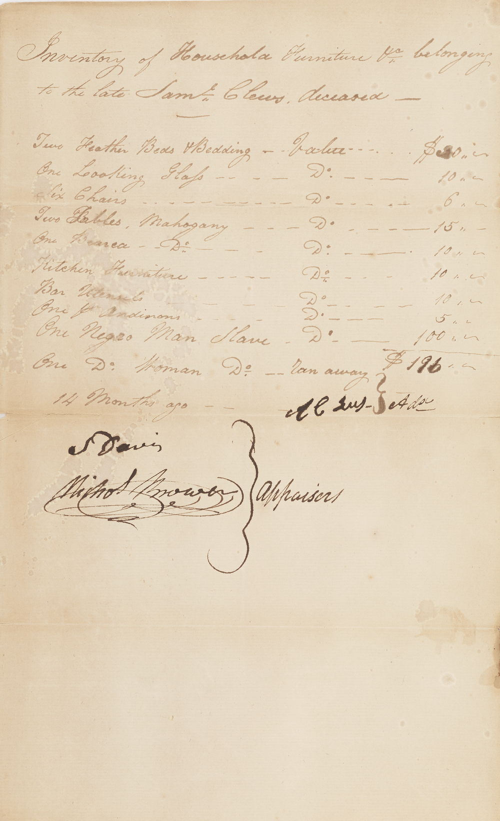 Estate Inventory of Samuel Clews