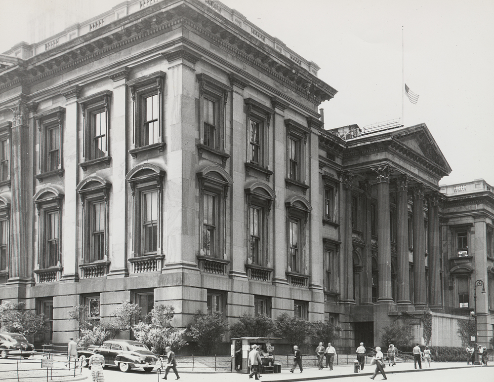 Tweed Courthouse, looking southwest from Chambers Street, east of Broadway, ca. 1950