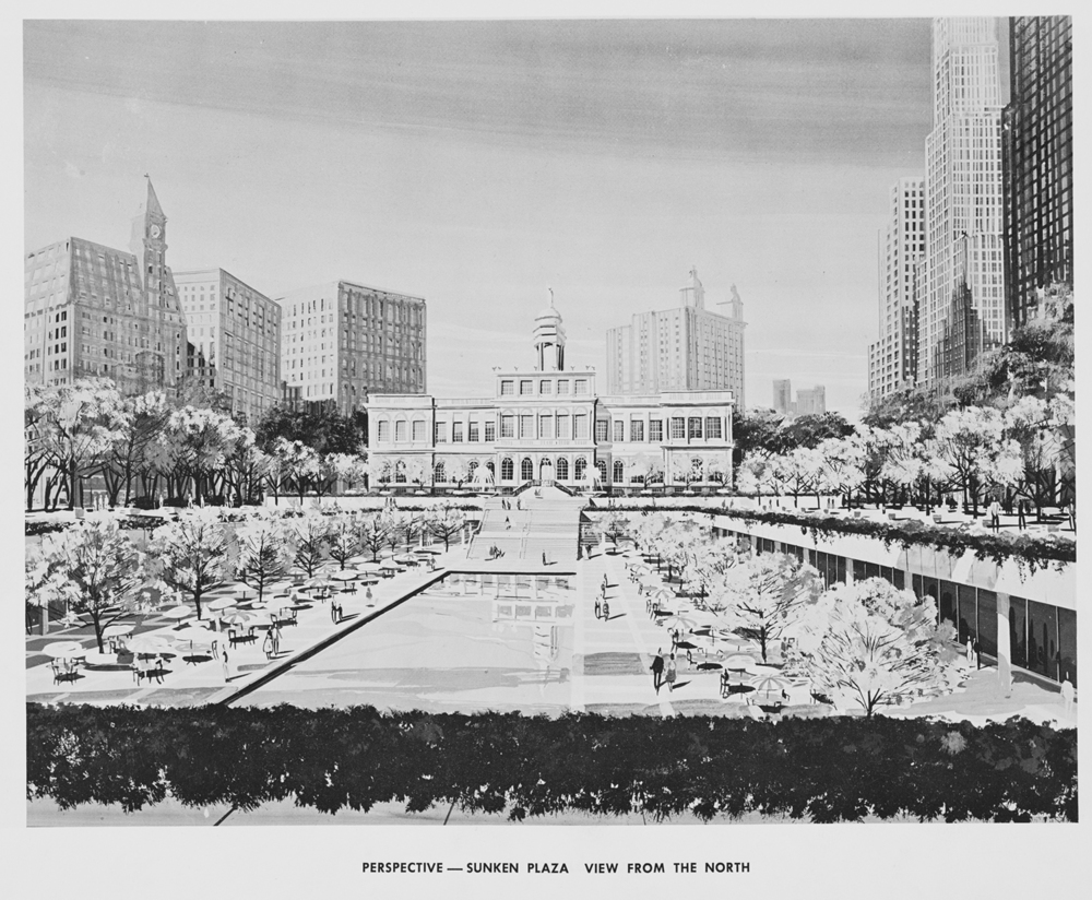 Proposed Civic Center Sunken Plaza, 1963