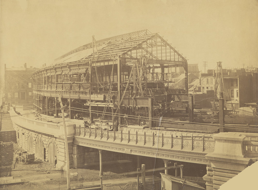Construction of the Brooklyn Bridge trolley shed, Brooklyn, ca. 1882