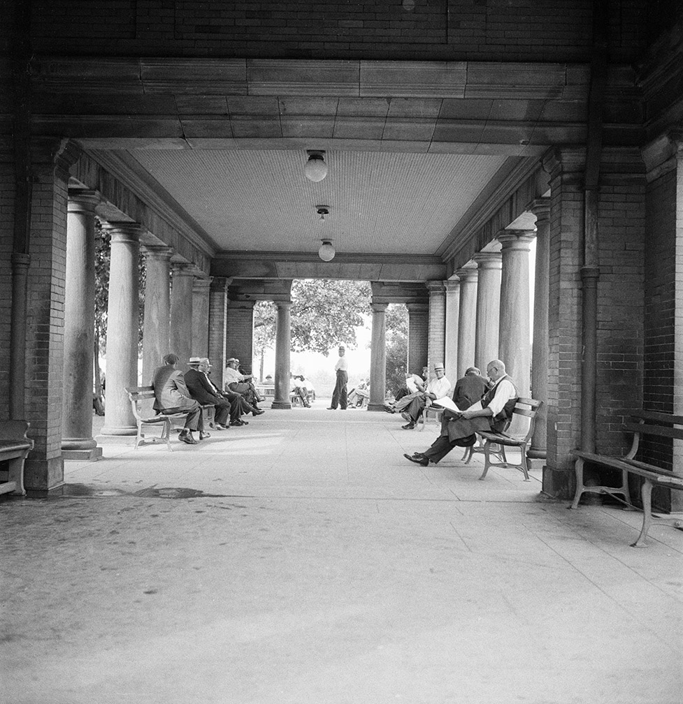 Interior of old Sunset Park pavilion. July 25, 1934 . NYC Municipal Archives.