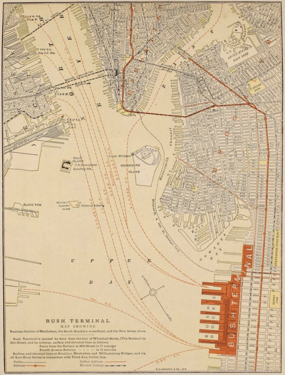 Map of Bush Terminal from  Economy: Making Dividends by Saving Them,  Bush Terminal Company, 1910.  NYC Municipal Archives.