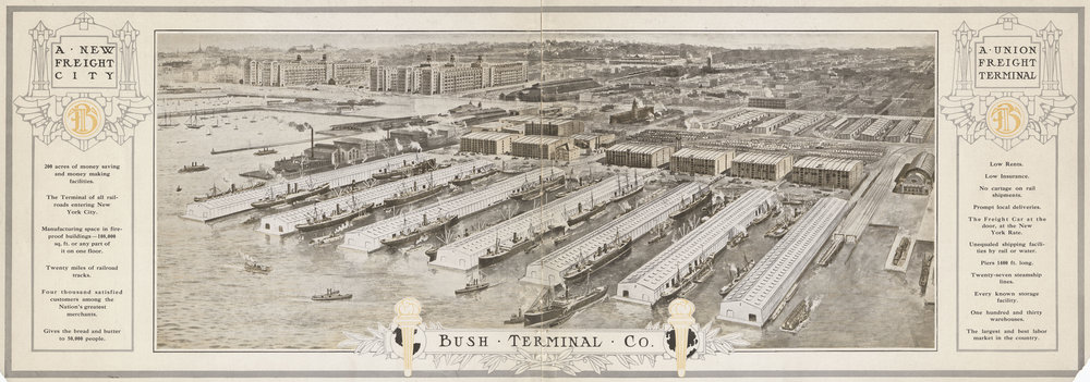 From     Economy: Making Dividends by Saving Them,   Bush Terminal Company, 1910.    NYC Municipal Archives.