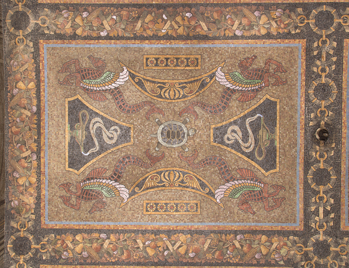 Decorative ceiling mosaic, vestibule, 31 Chambers Street.  Photo: Matthew Minor.