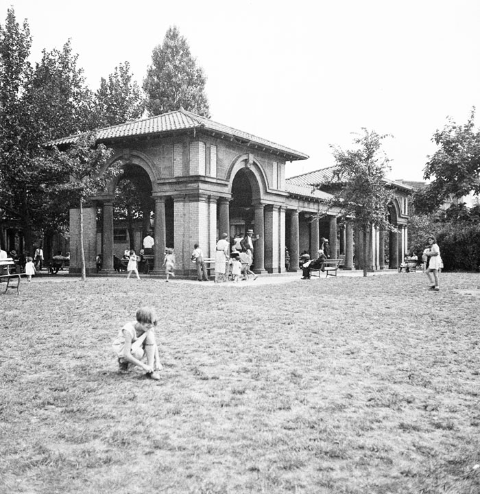 Old pavilion in Sunset Park near 44th Street. July 25, 1934. NYC Municipal Archives.