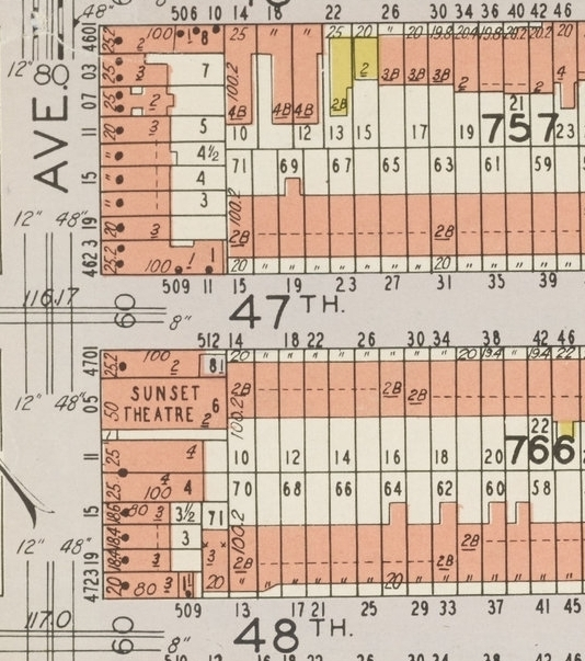 4705 5th Ave (Sunset Theatre) as shown on 1929 Hyde-Belcher insurance map. NYC Municipal Archives.