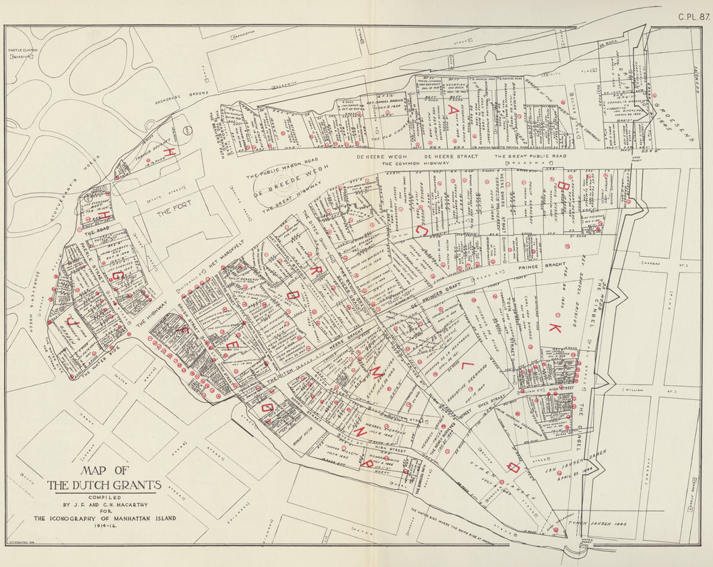 "Map showing the placement of the wall in relation to modern streets. The Wall did not just run along Wall Street, it also ran along the western edge of the City along the path of Greenwich Street, and at times along part of the East River. On the eastern shore a small earthworks with cannon protected the  Stadthuys  or City Hall.  The wall had a gatehouse at Broadway, ""The Land Poort"" on this map, and a fortified gatehouse at the water's edge ""The Water Poort."" Stokes,  Iconography of Manhattan Island ."