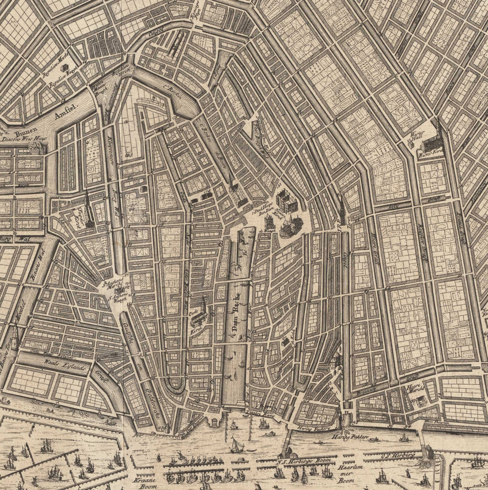 "A New Map of the City of Amsterdam, 1720 (detail).  The Cingel is the canal (and the streets on either side) that begins at the ""Haring Pakkers"" by the waterfront, heads up to the tower, and then curves to the left before joining the Amstel River. It was the original defensive wall of Amsterdam. Map courtesy the Stadsarchief Amsterdam."