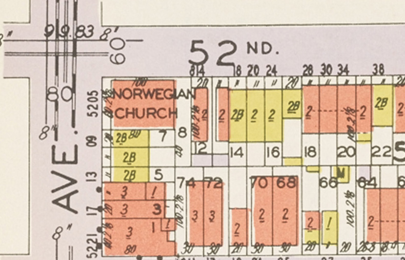Detail, 5201 8th Ave. (at 52nd St.), Brooklyn, from Hyde-Belcher insurance map, 1929. NYC Municipal Archives.