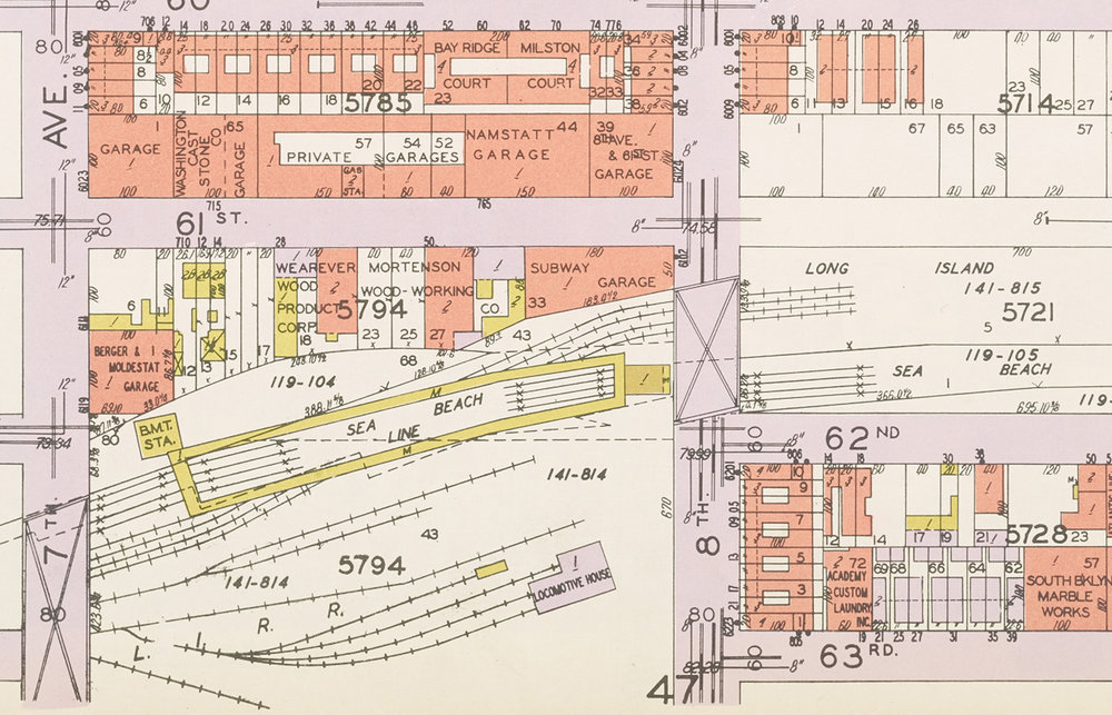 Detail, 8th Ave. and 62nd St., from Hyde-Belcher insurance map, 1929. NYC Municipal Archives.