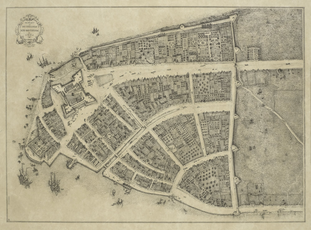 Redraft of the Castello Plan, New Amsterdam in 1660. James Wolcott Adams, 1916. I.N. Phelps Stokes, The Iconography of Manhattan Island, 1498-1909.
