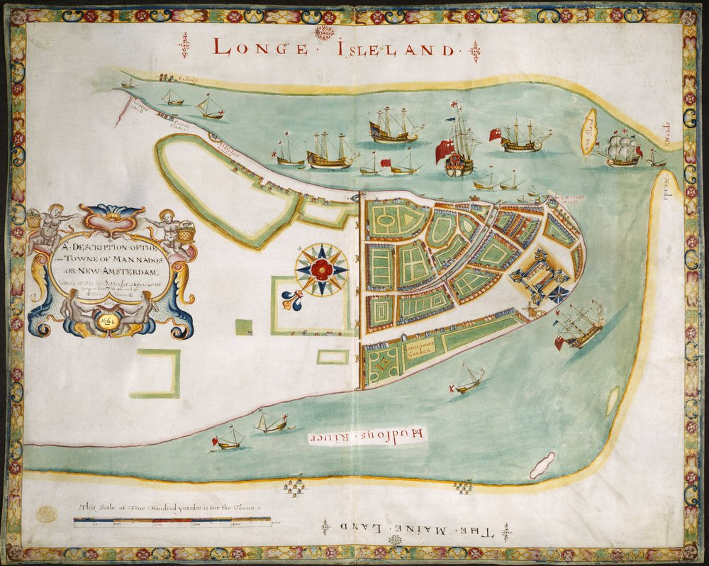 "This decorative map shows the English fleet sailing into New Amsterdam in 1664, and it was presented to James the Duke of York, perhaps to request his patronage and name. Known as The Duke's Plan, it was drawn by Robert Holmes, but his source was either the Cortelyou survey or an English spy, possibly Governor Winthrop. The wall on this plan simply crosses the island along Wall Street, but five cannon emplacements (bastions) are shown, as well as one in front of the Stadt Huys. The Water Gate and blockhouse are clearly shown as well, but the western wall in the 1661 Castello Plan is gone. As this map is stylized, and its source material unknown, its accuracy is in doubt, but the council discussions of February 1664 suggest that the river walls had fallen into disrepair. Contrary to recent claims, this was also the first map to show the North River as ""Hudsons River."" Map courtesy the  British Library ."