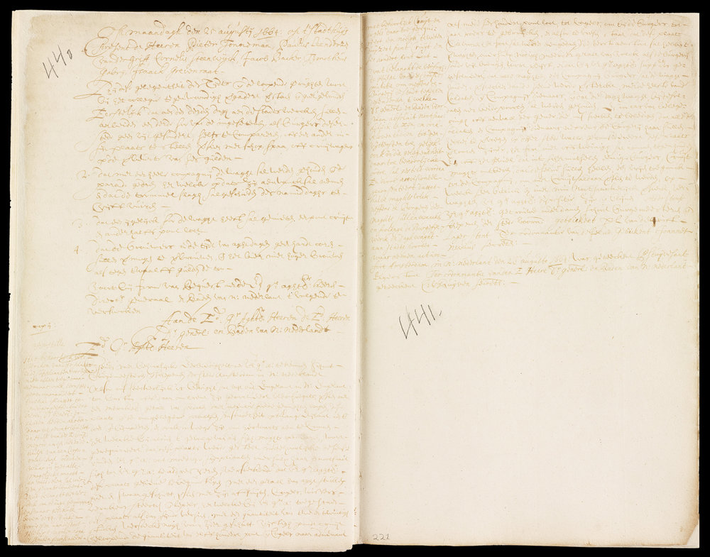 "The minutes from August 25th, 1664, the day the Burgomasters and Schepens were informed of the English fleet at Boston preparing to sail for New Amsterdam. The marginal Appostille is from General Stuyvesant, who concurred that ""The proper fortifying of this place is not only granted..., but also earnestly recommended."" In a possibly apocryphal story, Stuyvesant was presented with an early draft of the articles of surrender on August 22nd, but no such event was recorded in the official record."
