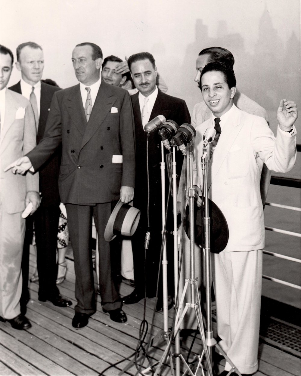King Faisal II Addressing the Press on board the RMS Queen Mary