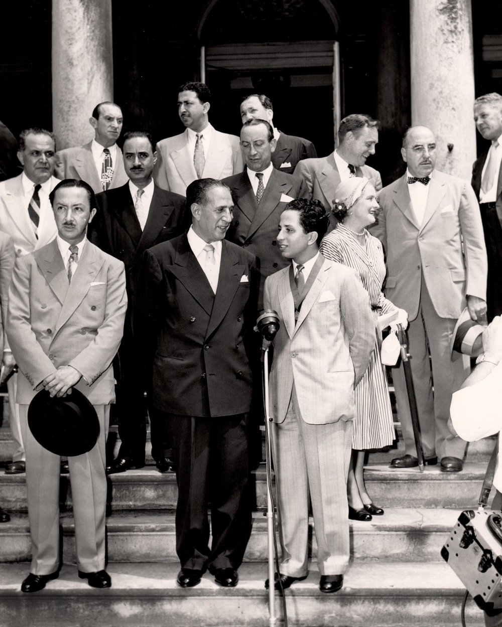 On the steps of City Hall  Mayor Vincent R. Impellitteri welcoming King Faisal II to New York City Hall