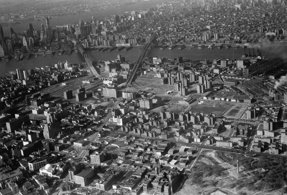 Aerial view of Brooklyn and Lower Manhattan, 1956. Fort Greene Park is seen in lower right corner. Department of Parks & Recreation collection, NYC Municipal Archives.