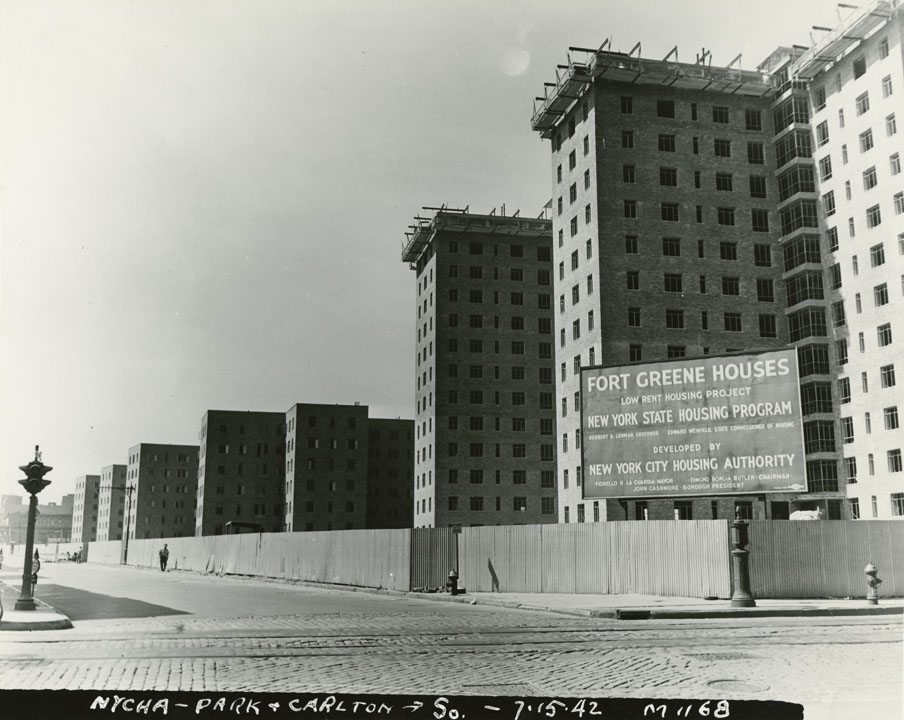 Fort Greene public housing under construction, Park Ave. and Carlton Ave., 1942. Mayor Fiorello H. LaGuardia collection, NYC Municipal Archives.