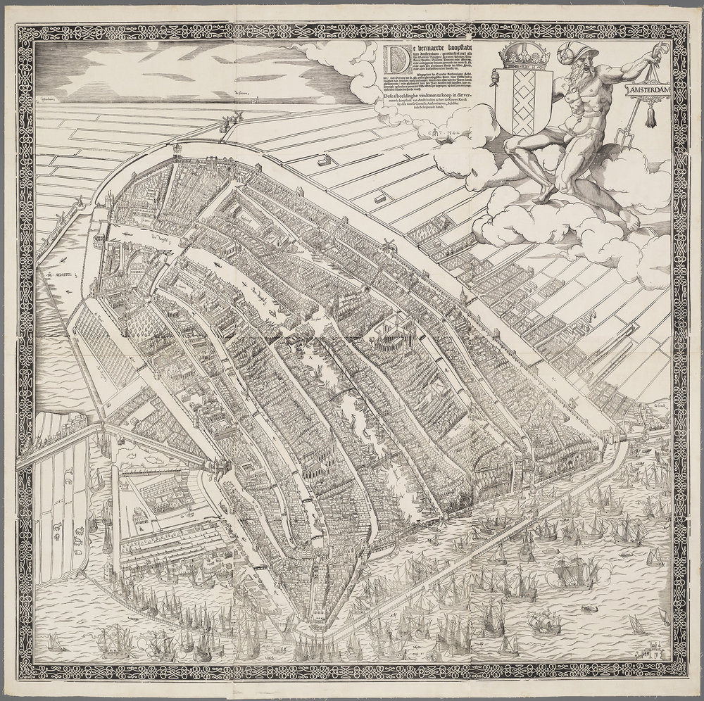 Amsterdam in 1544, the model for New Amsterdam. Note the Cingel (see last post) the canal and wall that were the original defenses of Amsterdam. Map courtesy the Stadsarchief Amsterdam. Engraved and published by Cornelis Anthonisz.