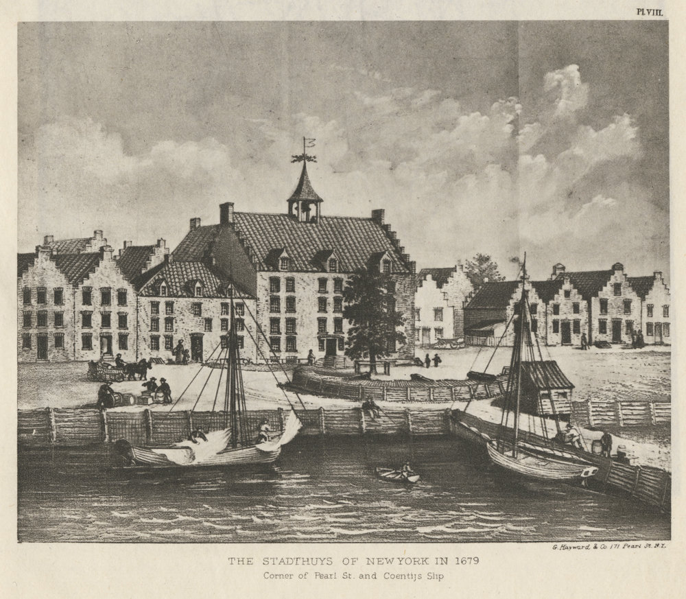 The plank waal in front of the Stadt Huys and the battery, in an early-20th-Century interpretation. Stokes, Iconography of Manhattan Island.