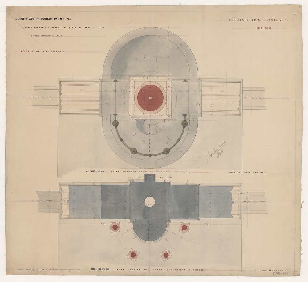 Jacob Wrey Mould, Central Park drawing, 1875. Fountains for Bethesda Terrace and Mall. Details of Fountains. Stonecutter's Contract. Ground plans of vase, die, corbel and shafts of columns. Department of Parks and Recreation collection, New York City Municipal Archives.