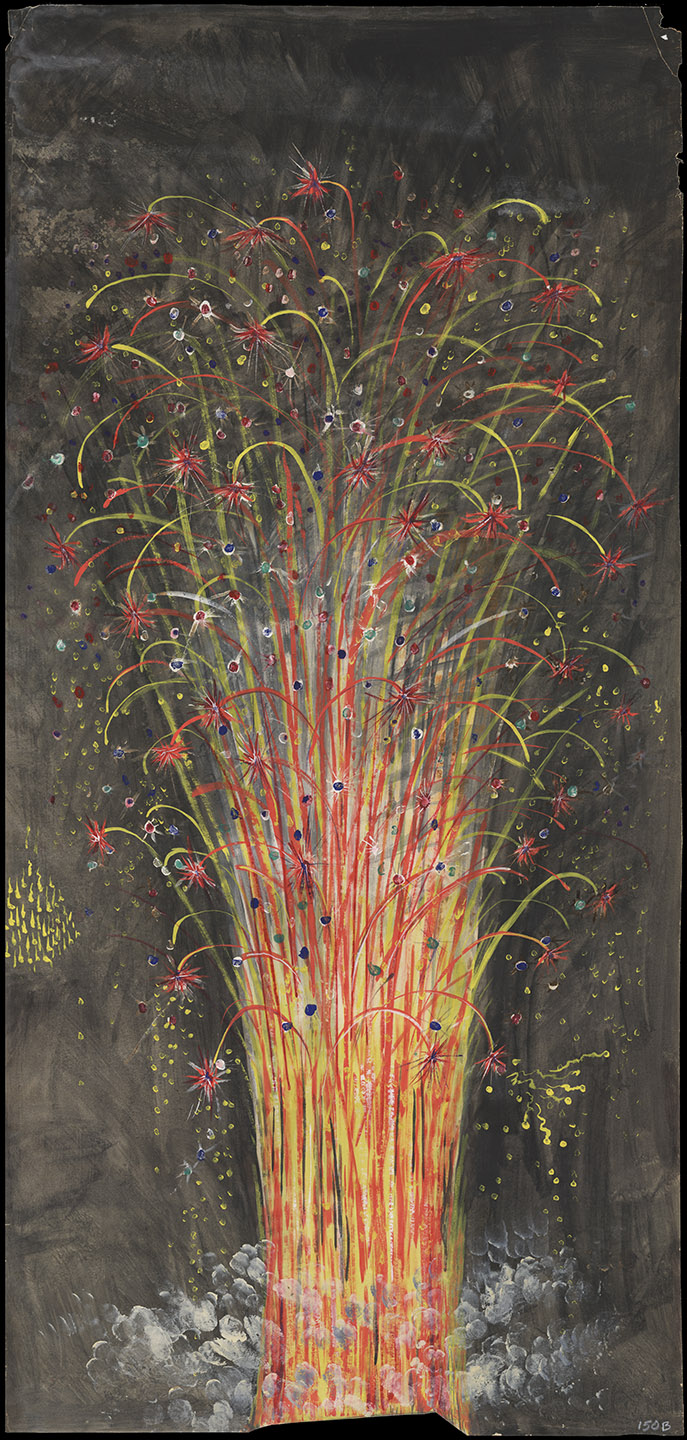 Fireworks off the Bridge, 1883. Artist unknown; drawn for the Unexcelled Fireworks Company. New York City Municipal Archives.