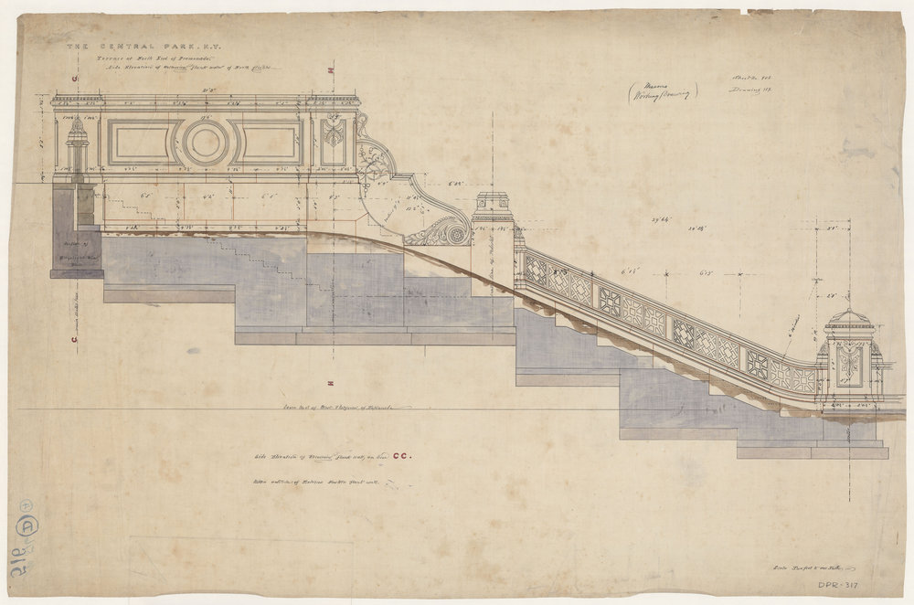 Central Park drawing, 1859-1863. Bethesda Terrace and Mall, Side Elevation of Retaining Flank Walls of North Flights. Mason's Working Drawing. Department of Parks and Recreation collection, New York City Municipal Archives.
