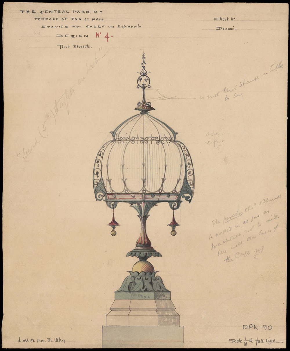 Jacob Wrey Mould, Central Park drawing, 1864. Bethesda Terrace and Mall, Studies for Cages on Esplanade. Design No. 4: First Sketch. Department of Parks and Recreation collection, New York City Municipal Archives.