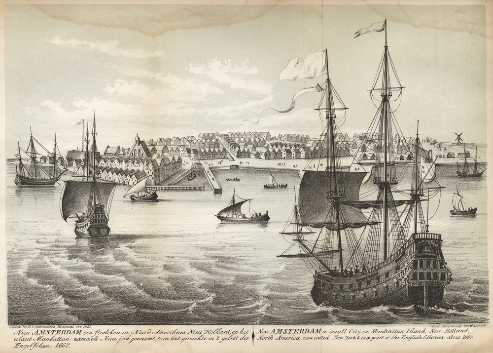New Amsterdam, a small city on Manhattan Island, New-Holland, North America, now called New-York & is a part of the English Colonies, ca. 1667. Copied by G. Hayward for D.T. Valentine's Manual for 1851. NYC Municipal Archives.