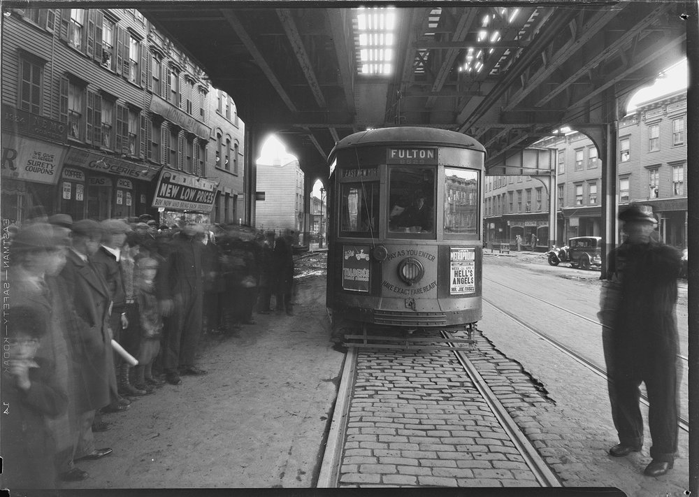 B&Q trolley car which struck and injured Dorothy Reid, 7 years of age, Fulton St. and Ralph Ave., April 8, 1931