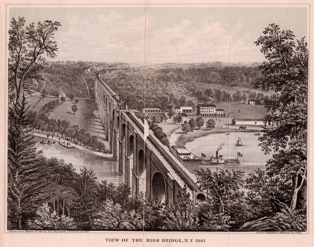 High Bridge, part of the Croton Aqueduct. Manual of the Common Council of the City of New York, D.T. Valentine, 1861. Municipal Library Collection.